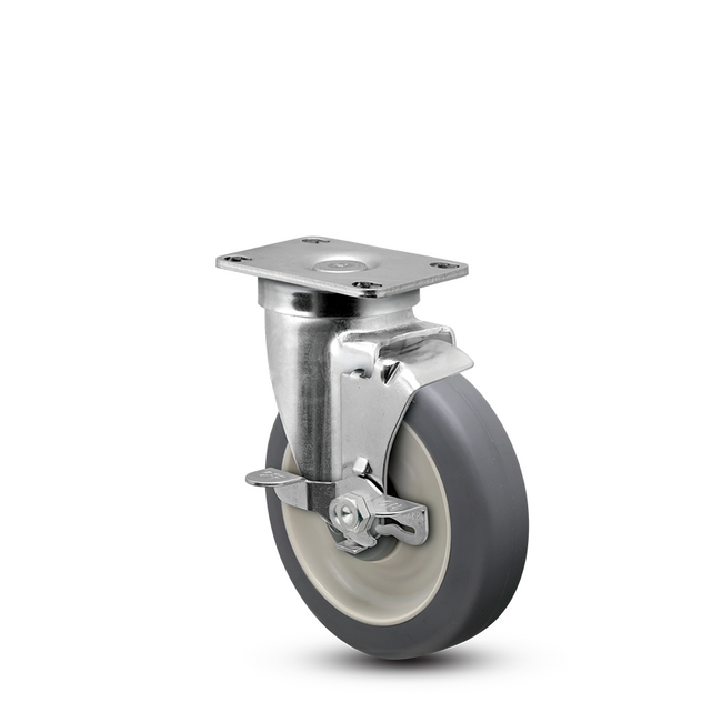 "5"" CHROME SWIVEL CASTER W/ BRAKE - NSF LISTED FOR FOODSERVICE - JARVIS"