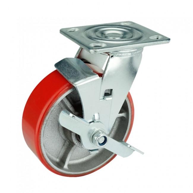 "LINCO Locking Polyurethane on Cast Iron Swivel 8"" (1000 LBS Cap)"