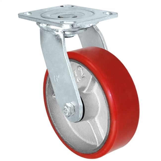 "6"" POLYURETHANE ON CAST IRON SWIVEL CASTER - 900LBS CAPACITY"