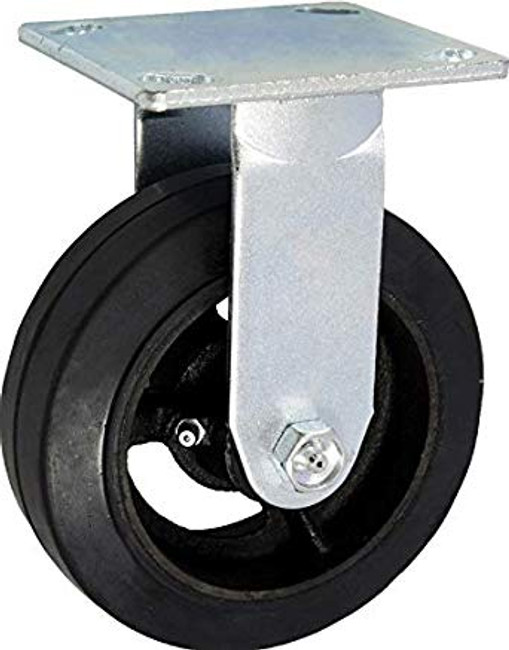 "8"" BLACK MOLD ON RUBBER RIGID CASTER - 600LBS CAPACITY - TRASH BIN CASTER"
