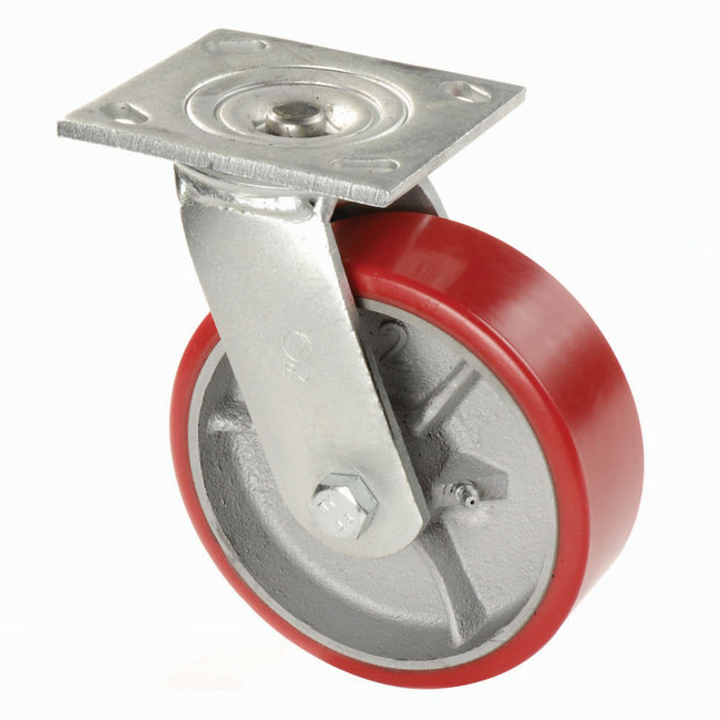 "Colson Heavy Duty Red Polyurethane Swivel Caster on Cast Iron Wheel 8"" (1000 LBS Cap)"