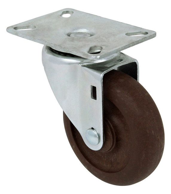 4'' x 1 1/4''high temp nylon glass filled swivel caster with 3 1/8'' x 4 1/8'' top plate