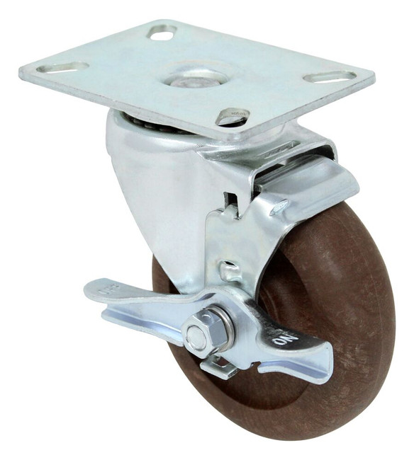 4'' x 1 1/4'' high temp glass filled nylon swivel caster with 3 1/8'' x 4 1/8'' top plate w/ top lock brake