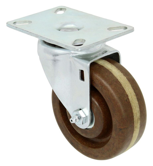 4'' x 1 1/2'' high temp phenolic swivel caster w/ roller bearing w/ 3 1/8'' x 4 1/8'' top plate w/ top lock brake