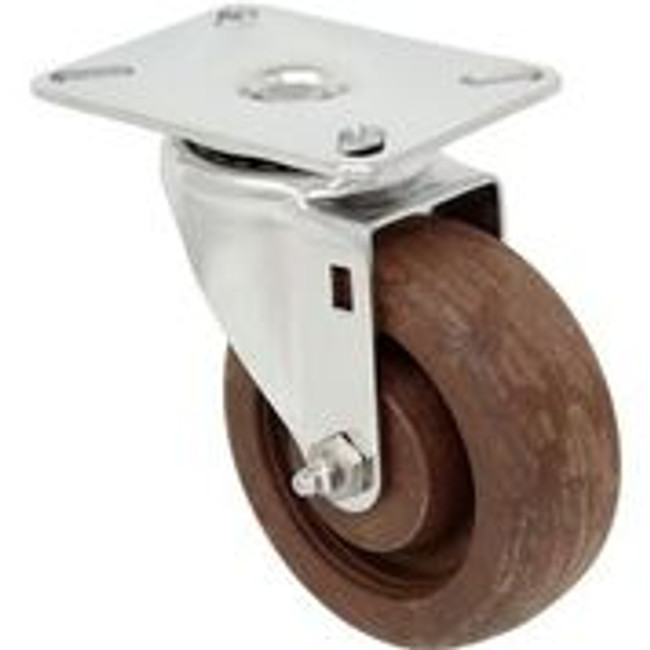 5'' x 1 1/4'' high temp glass filled nylon swivel caster w/ 3 1/8'' x 4 1/8'' top plate