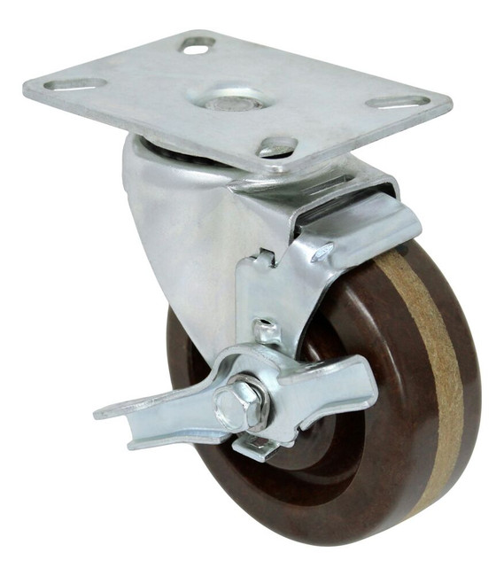 5'' x 1 1/2'' high temp phenolic swivel caster w/ roller bearing w/ 3 1/8'' x 4 1/8'' top plate w/ top lock brake
