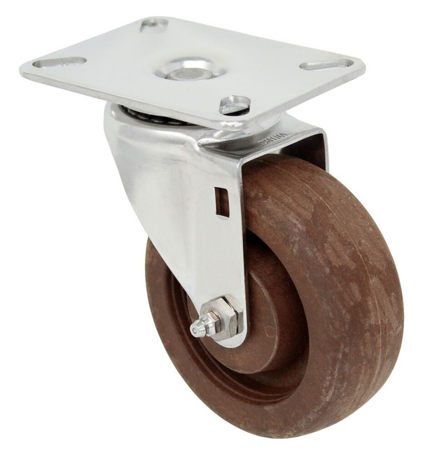 4''x 1 1/2'' high temp glass filled nylon stainless swivel caster w/ 3 1/8'' x 4 1/8'' top plate