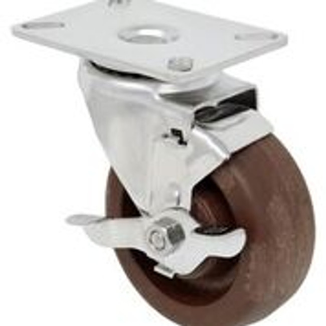 4''x 1 1/2'' high temp glass filled nylon stainless swivel caster w/ 3 1/8'' x 4 1/8'' top plate with top lock brake
