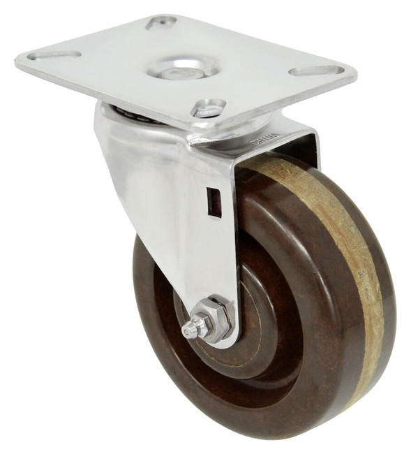 4''x 1 1/2'' high temp phenolic stainless swivel caster w/ 3 1/8'' x 4 1/8'' top plate