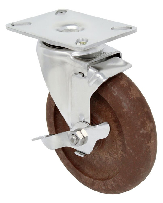 5''x1 1/4'' high temp nylon glass filled stainless swivel caster w/ 3 1/8'' x 4 1/8'' top plate w/ top lock brake