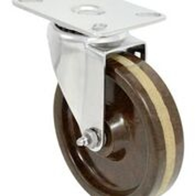 5''x 1 1/4'' high temp phenolic stainless swivel caster w/ 3 1/8'' x 4 1/8'' top plate
