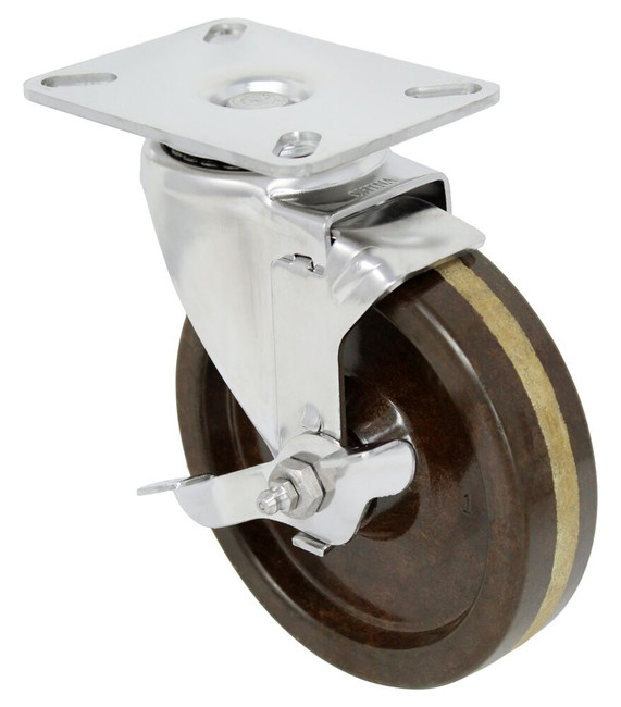 5''x 1 1/4'' high temp phenolic stainless swivel caster w/ 3 1/8'' x 4 1/8'' top plate w/ top lock brake