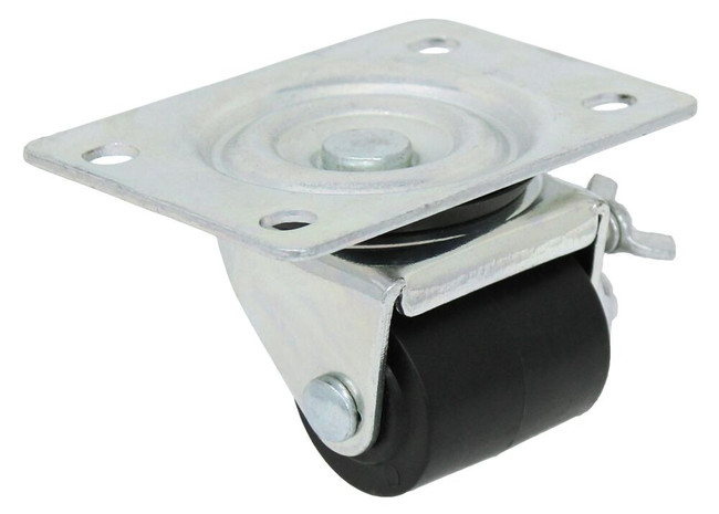 1 5/8'' x 1 11/16'' swivel caster w/ polyolefin wheel w/ 2 3/8'' x 3 5/8'' top plate w/ thumb screw brake 220lbs cap