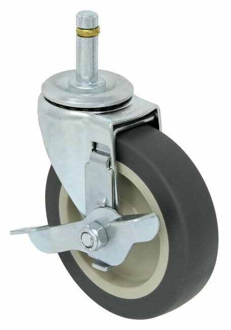 4'' x 1'' swivel caster w/ thermo plasctic rubber wheel plain bore w/ 7/16'' x 1 3/8'' grip ring stem w/ verti-lock brake 125lbs cap