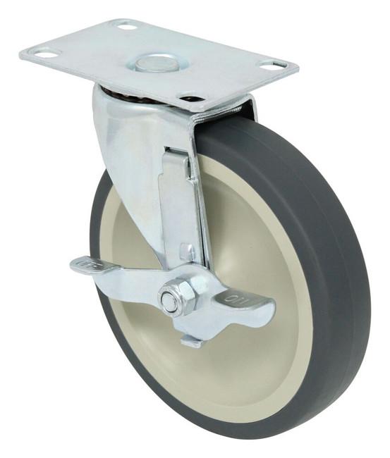 5'' x 1'' swivel caster w/ thermo plastic rubber wheel plain bore w/ 2 3/8'' x 3 5/8'' top plate w/ verti-lock brake 135lbs cap