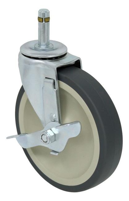 5'' x 1'' swivel caster w/ thermo plastic rubber wheel plain bore w/  7/16'' x 1 3/8'' grip ring stem w/ verti-lock brake 135lbs cap