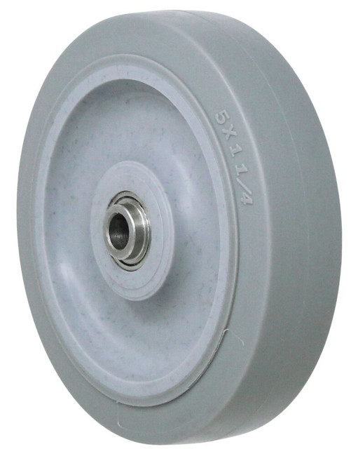 5x1 1/4'' high grade thermo elastomer on polyolefin wheel w/ 3/8'' annular ball bearing