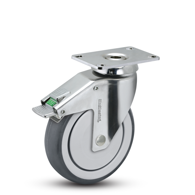 "Medcaster  Chrome Hospital Directional Lock Swivel Caster 5"" (260 LBS Cap) - CH-05TPP-125-DL-TP01"