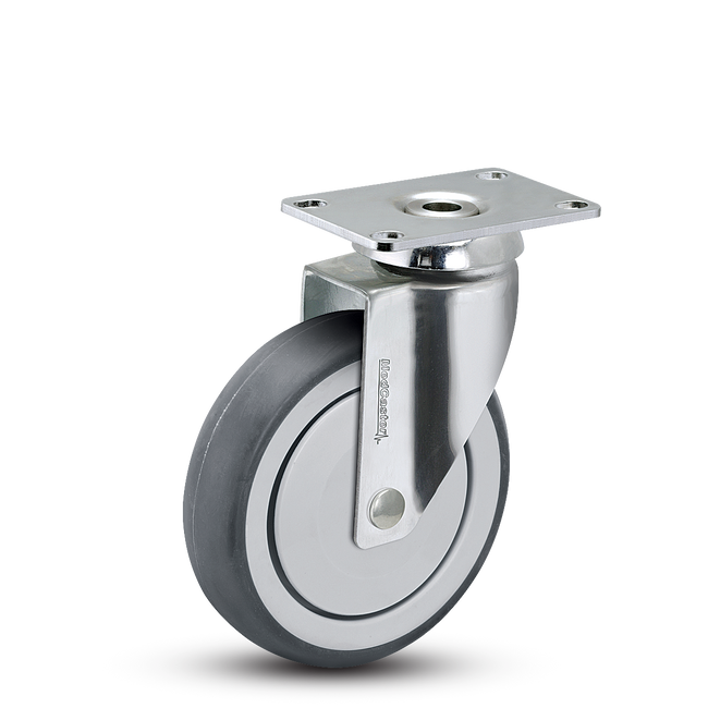 "Medcaster  Chrome Hospital Swivel Caster 5"" (260 LBS Cap) - CH-05TPP-125-SW-TP01"