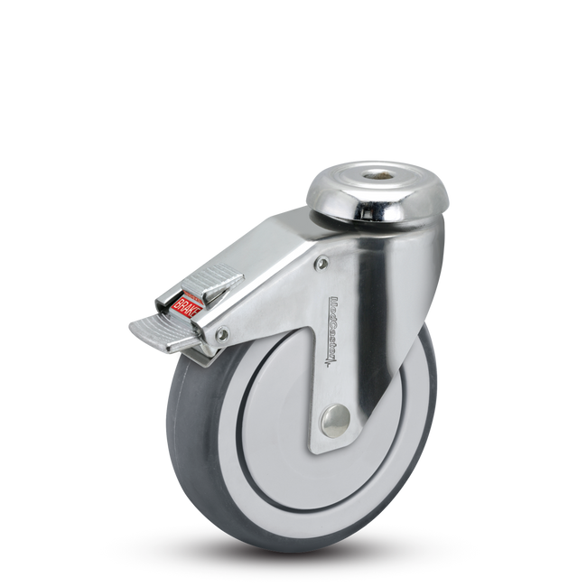 "Medcaster  Chrome Hospital Swivel Caster 5"" (260 LBS Cap) - CH-05TPP-125-TL-HKU1"
