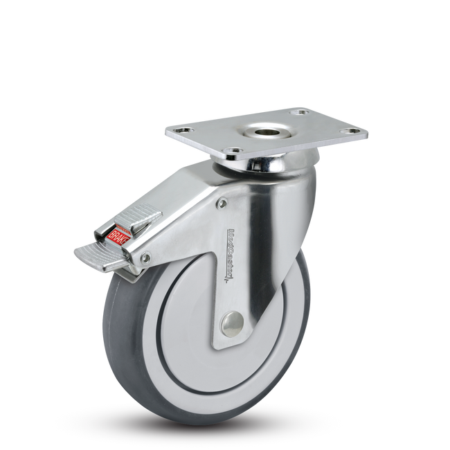 "Medcaster  Chrome Hospital Swivel Caster 5"" (260 LBS Cap) - CH-05TPP-125-TL-TP01"