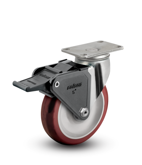 "Colson Stainless Steel Polyurethane Locking Swivel Caster 4"" (275 LBS Cap) - 2.04456.944 BRK2"