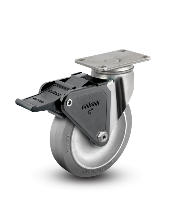"Colson Stainless Steel Performa Locking Swivel Caster 5"" (325 LBS Cap) - 2.05456.444 BRK2"