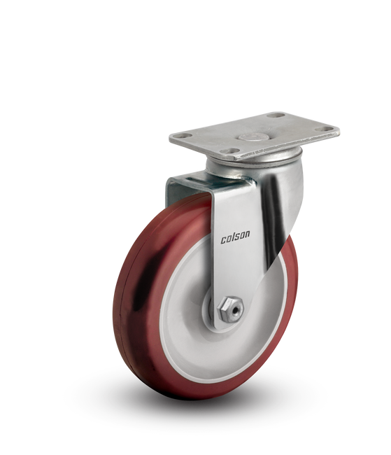 """Colson Stainless Steel Polyurethane Swivel Caster 5"""" (300 LBS Cap) - 2.05456.944"""