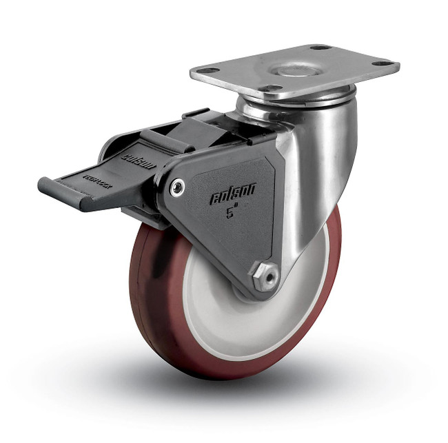 "Colson Stainless Steel Polyurethane Locking Swivel Caster 5"" (300 LBS Cap) - 2.05456.944 BRK2"