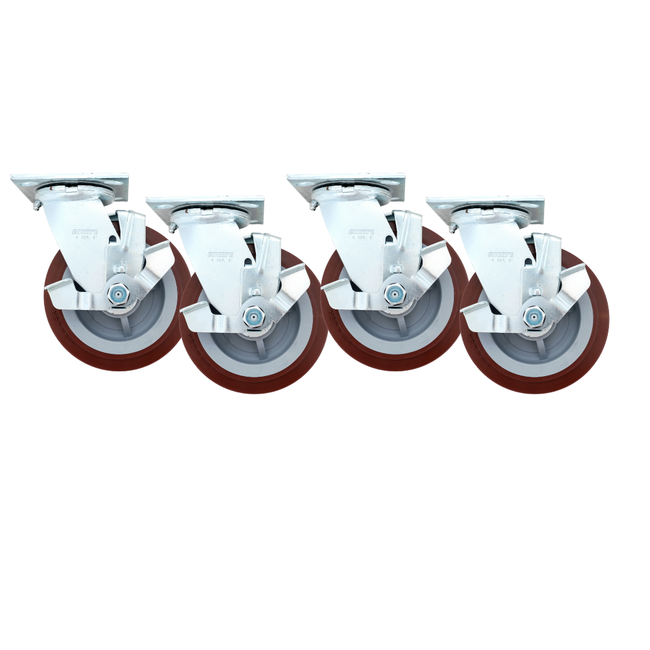 "Linco Heavy Duty Locking Casters 6"" Set of 4 with Polyurethane Swivel Wheels (3600 LBS Cap)"
