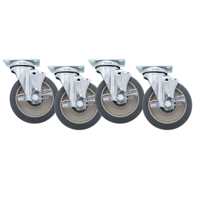 "Linco Chrome Heavy Duty Food Service Casters 5"" Set of 4 with Polyurethane Swivel Wheels (1200 LBS Cap)"