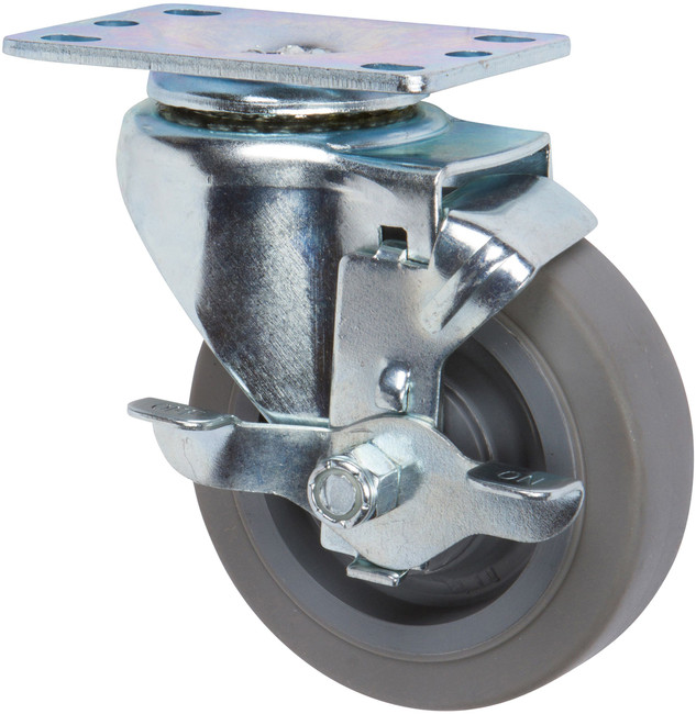 """Trio Pines 5040 Series Thermoplastic Rubber Tread Swivel Caster 4"""" with Top Lock Brake (Gray)"""