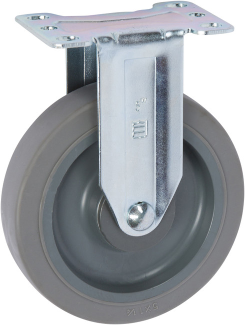 """Trio Pines 5040 Series Thermoplastic Rubber Tread Rigid Caster 4"""" (Gray)"""
