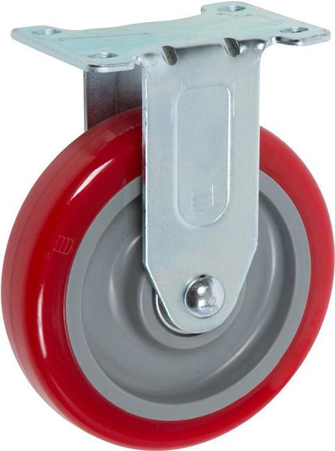 "Trio Pines 5040 Series Polyurethane Tread Rigid Caster 4"" (Red)"