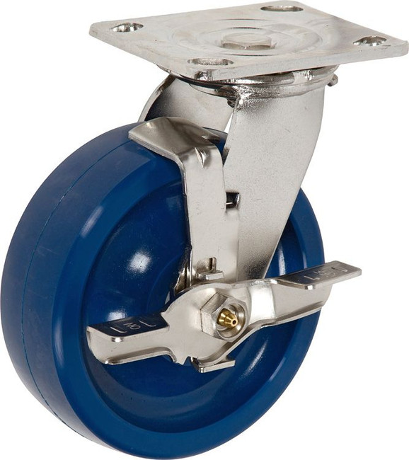 """Trio Pines 6760 Stainless Steel Series Polyurethane Tread Swivel Caster 6"""" with Top Lock Brake (Blue)"""