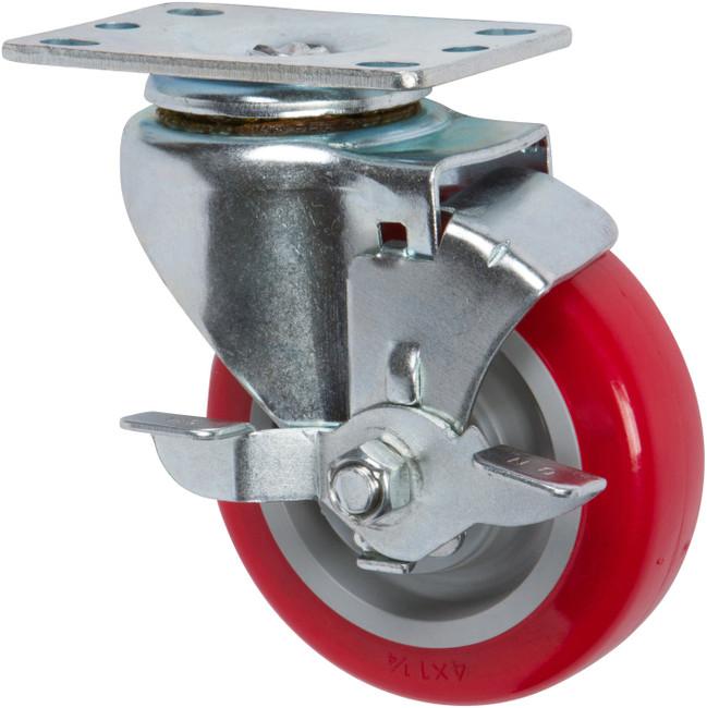 "TP5040 Series 4"" Polyurethane Non Marking Tread Wheel with Swivel Top Lock Brake Caster (Red)"