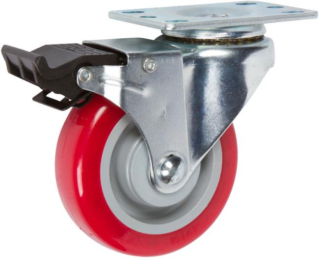 "Trio Pines TP5040 Series Polyurethane Tread Swivel Brake Caster 4"" (Red)"