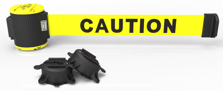 """Banner Stakes 30' Yellow """"Caution"""" Banner - Magnetic Wall Mount"""