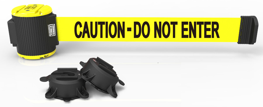 """Banner Stakes 30' Yellow """"Caution - Do Not Enter"""" Banner - Magnetic Wall Mount"""
