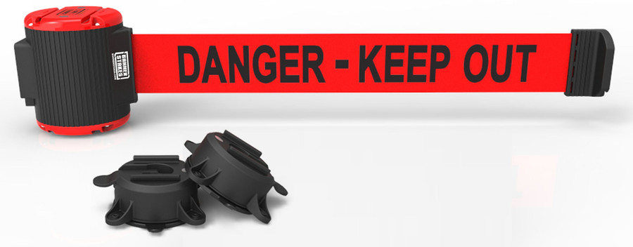 """Banner Stakes 30' Red """"Danger - Keep Out"""" Banner - Magnetic Wall Mount"""