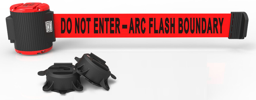 """Banner Stakes 30' Red """"Do Not Enter - Arc Flash Boundary"""" Banner - Magnetic Wall Mount"""
