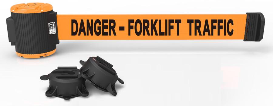 """30' Magnetic Wall Mount - Orange """"Danger- Forklift Traffic"""" Banner"""