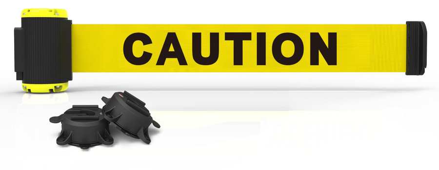 """7' Magnetic Wall Mount - Yellow """"Caution"""" Banner"""