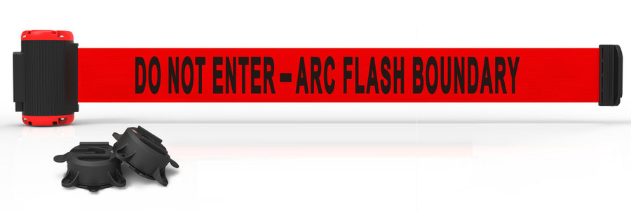 """Banner Stakes 7' Red """"Do Not Enter - Arc Flash Boundary"""" Banner - Magnetic Wall Mount"""