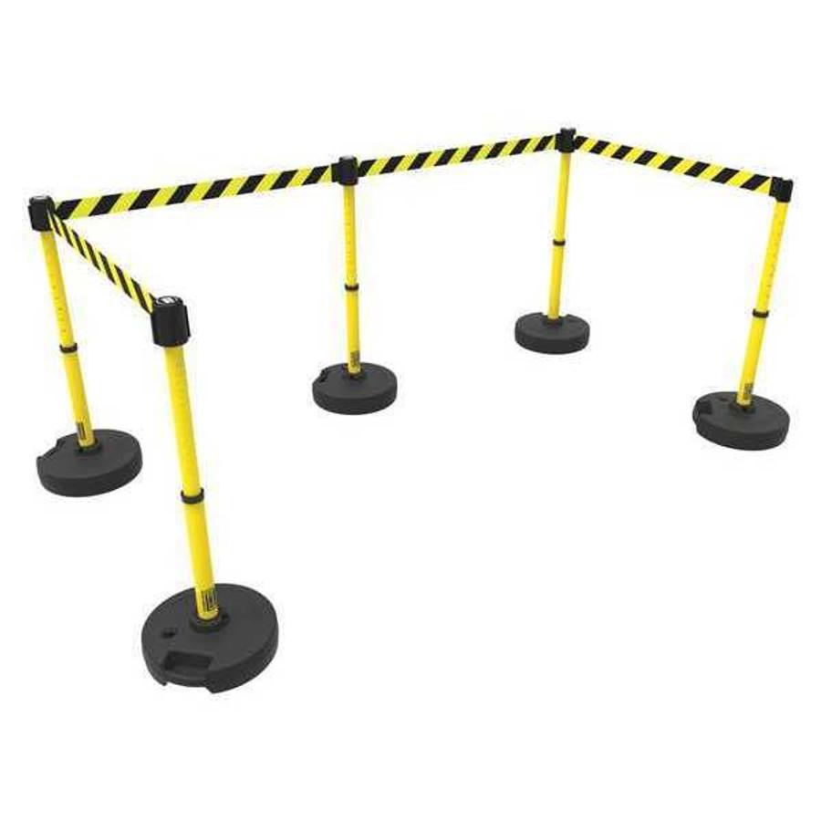 Banner Stakes PLUS Barrier Set x5 - Yellow/Black Diagonal Stripe
