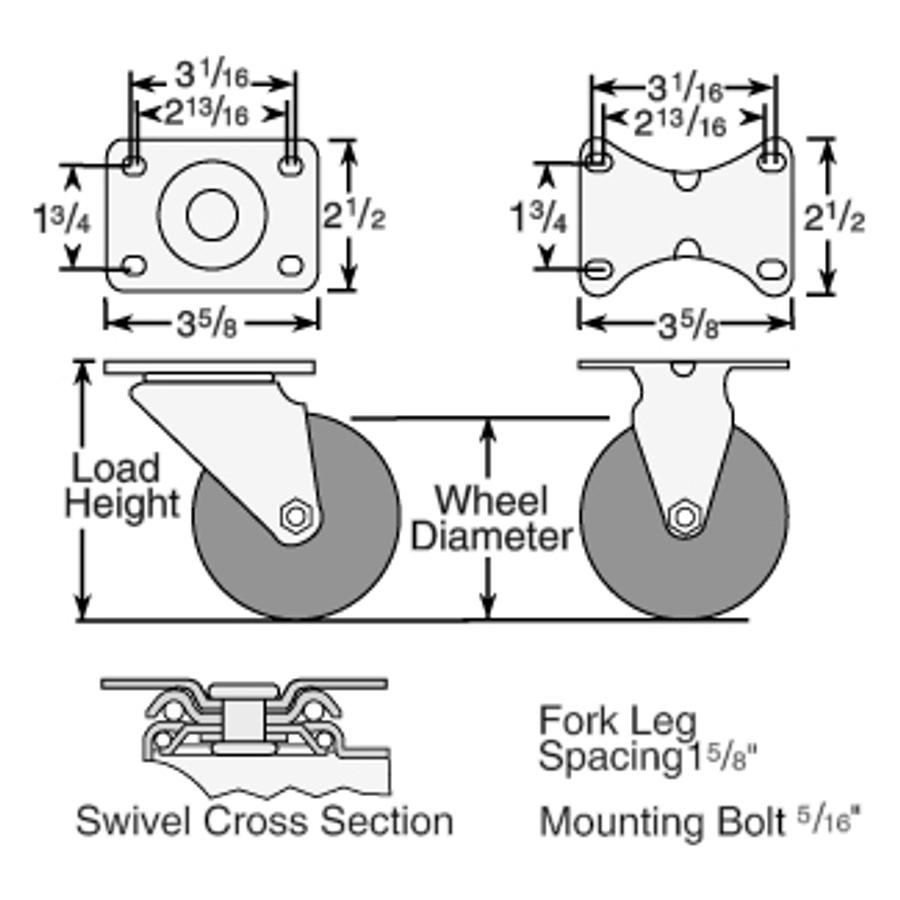 3-1/2''  Ecopoly Swivel Caster W Total Lock Brake ( 250 LBS. Cap)