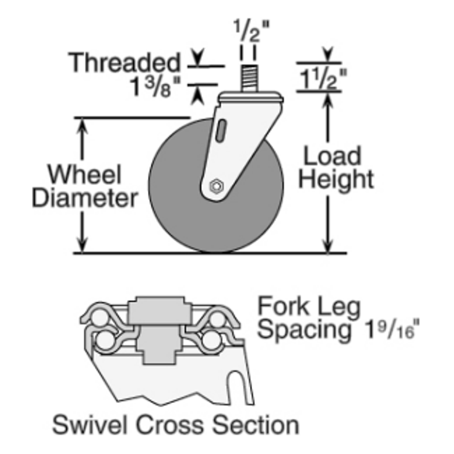 "Colson HI-TECH Swivel Caster 2-1/2"" Polyurethane Straight Thread Stem (250 LBS Cap) 2.02254.95"