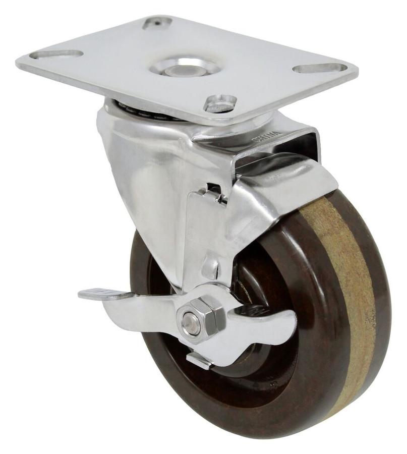 4''x 1 1/2'' high temp phenolic stainless swivel caster w/ 3 1/8'' x 4 1/8'' top plate w/ top lock brake