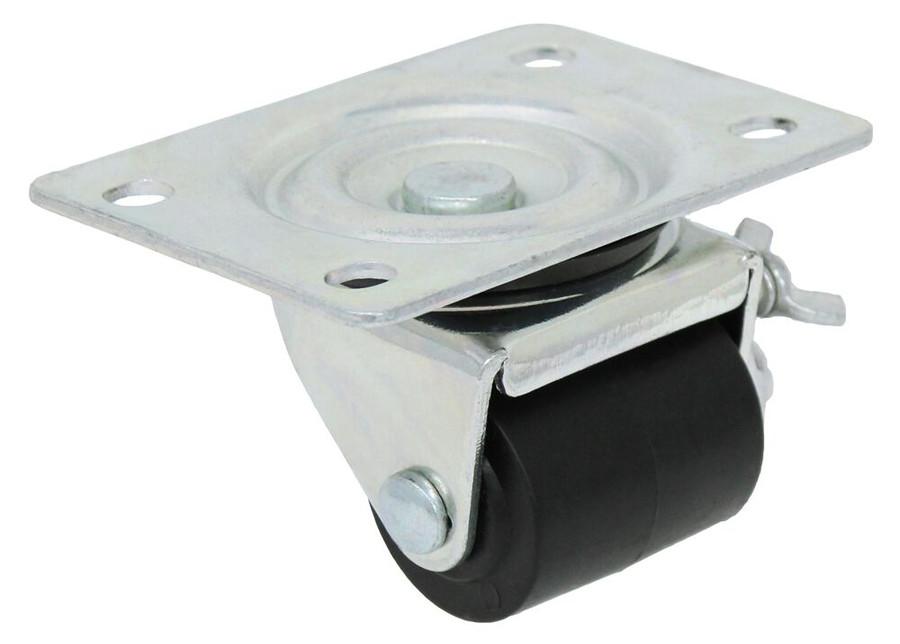 1 5/8'' x 1 11/16'' swivel caster w/ polyolefin wheel w/ 2 3/8'' x 3 5/8'' top plate w/ thumb screw brake 220lbs cap