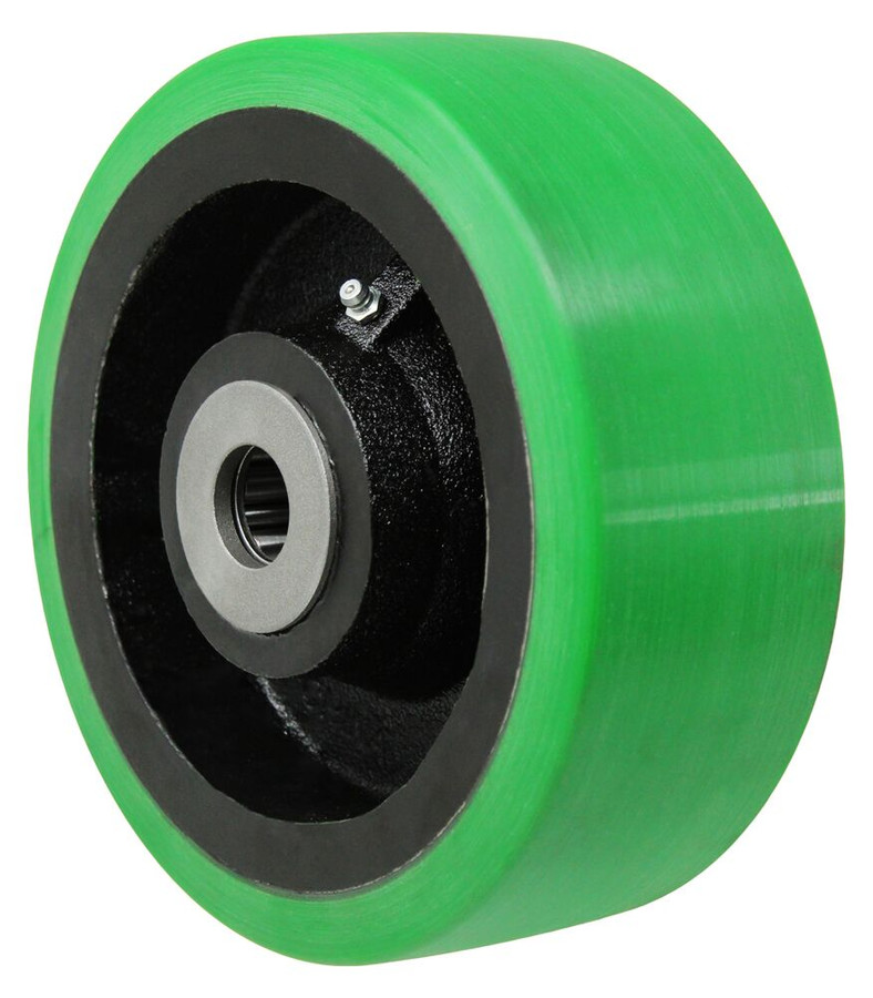 """LINCO Extra Thick Polyurethane on Cast Iron Core with 1"""" Roller Bearing 8"""" x 3"""""""
